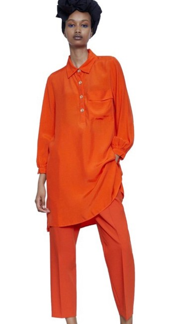 Item - Orange Tunic Short Casual Dress Size 6 (S)