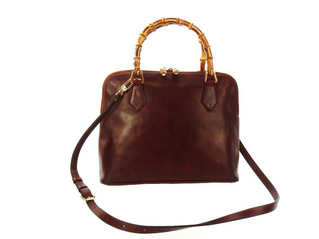Item - Double Bamboo Tote Brown Lambskin Leather Cross Body Bag