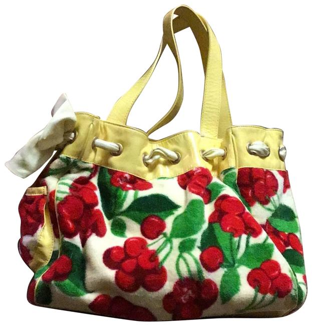 Item - Terry Cloth Cherry Patent Yellow Shoulder Bag