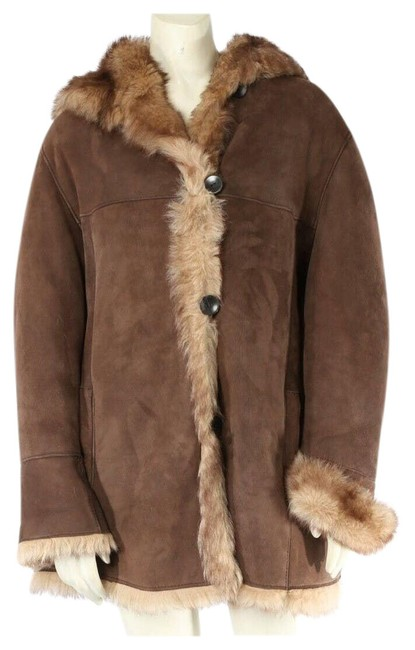 Item - Brown Sheepskin Fur Shearling Hooded Winter Short Coat Size 12 (L)