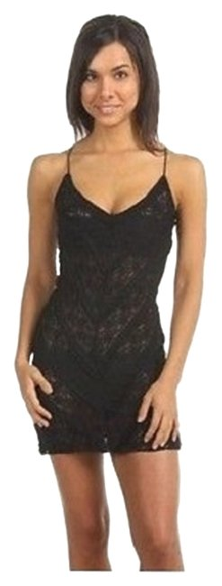 Free People short dress BLACK Mini Chemise Slip Short Slip Lace Slip Lace Slip Mini Intimates on Tradesy