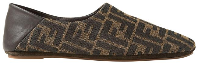Item - Brown Leather-trimmed Canvas Collapsible-heel Slippers Flats Size EU 39 (Approx. US 9) Regular (M, B)