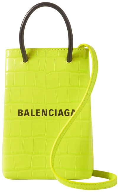 Item - Shop Croc-effect Lime Green Leather Shoulder Bag