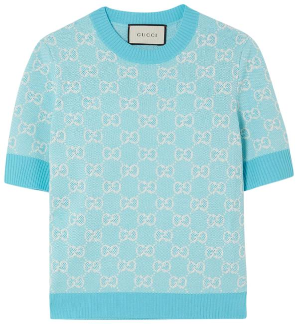 Gucci Blue Intarsia Wool and Cotton-blend Sweater Tee Shirt Size 4 (S) Gucci Blue Intarsia Wool and Cotton-blend Sweater Tee Shirt Size 4 (S) Image 1