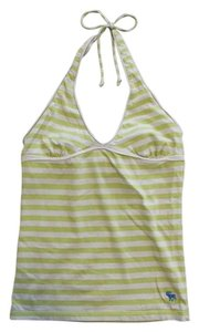 Abercrombie & Fitch Stripes Horizontal Stripe Green & White Halter Top