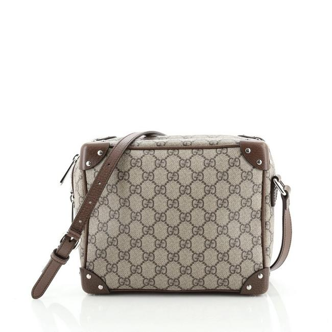 Item - Shoulder Trunk Gg with Studded Brown Canvas Coated Leather Cross Body Bag