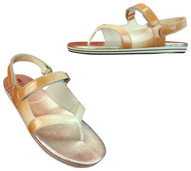 Item - Beige Ombre Patent Leather Flats Two Tones Gladiator Logo Sandals Size EU 37 (Approx. US 7) Regular (M, B)