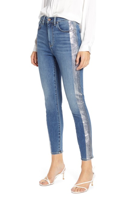 7 For All Mankind Ny Glitter Tuxedo Medium Wash B(Air) High Waist Ankle Skinny Jeans Size 30 (6, M) 7 For All Mankind Ny Glitter Tuxedo Medium Wash B(Air) High Waist Ankle Skinny Jeans Size 30 (6, M) Image 1