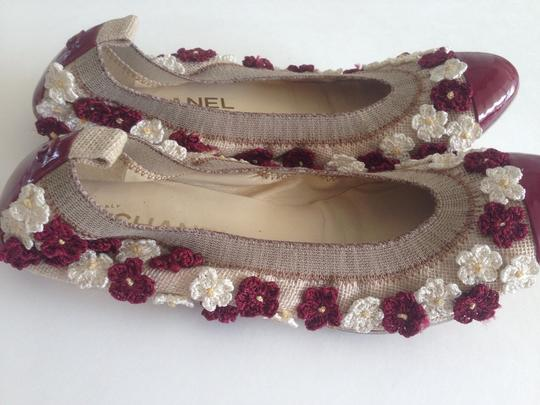 Chanel Burgundy And Beige Flats