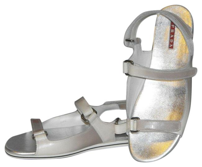 Item - Gray Ombre Patent Fume Leather Flats Two Tones Gladiator Logo Sandals Size EU 37.5 (Approx. US 7.5) Regular (M, B)