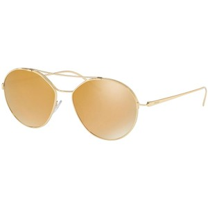 Item - Gold Frame & Brown Mirrored Lens Pr56us 5ak200 Women's Aviator Sunglasses