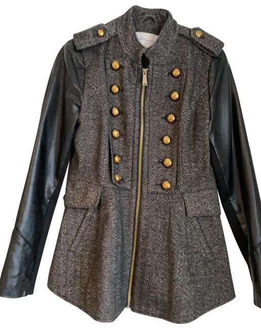 Item - Black with Gold Buttons Tweed and Faux Leather Military Jacket Coat Size 8 (M)
