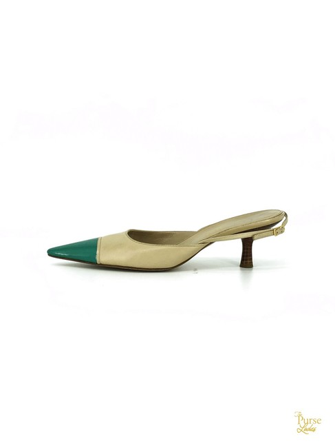 Item - Beige Leather Pointed Green Toe Cap Slingbacks #33068 Sandals Size EU 41 (Approx. US 11) Regular (M, B)