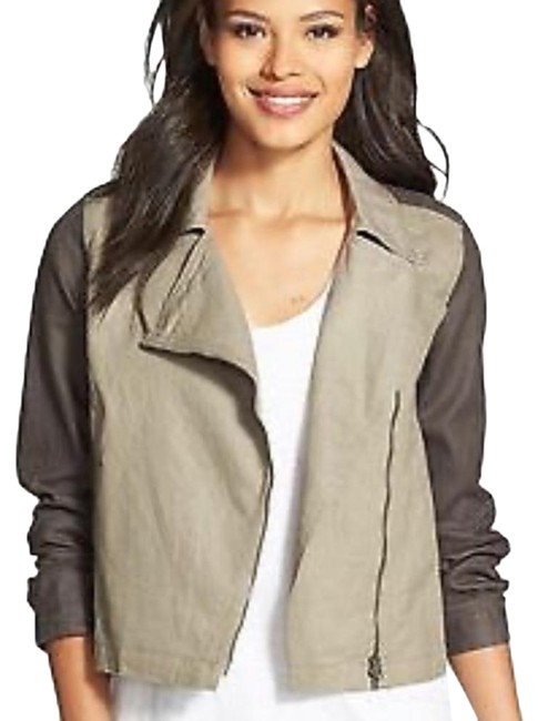 Item - Green & Gray Organic Linen Moto Asymmetric Jacket Size 6 (S)