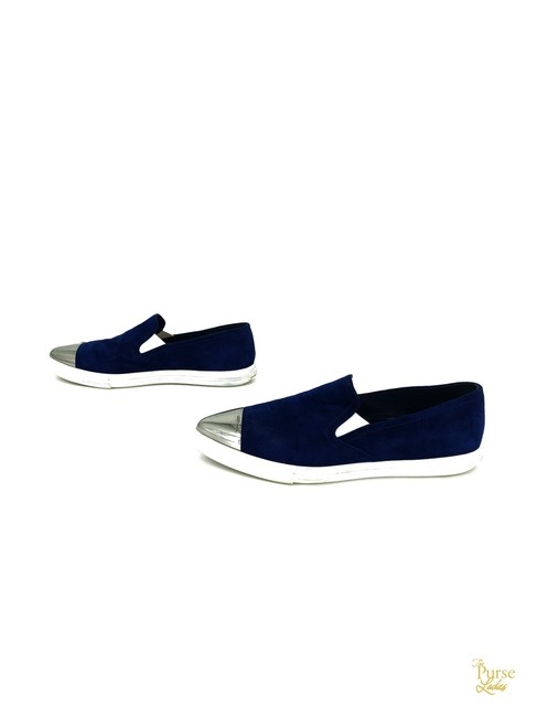 Item - Blue Suede Pointed Toe Slip On Sneakers #33055 Flats Size EU 40.5 (Approx. US 10.5) Regular (M, B)