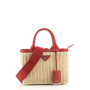 Item - Canapa Basket with Small Neutral Red Wicker Tote