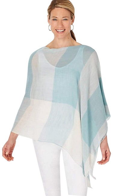 Item - Chalk Blue Gingham Light Weight Poncho Tunic Size OS (one size)