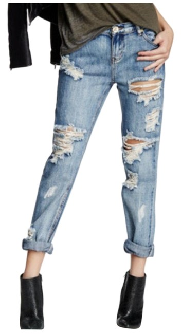 Item - Blue Awesome Baggies Low Waist Medium Rise Tapered Rolled Cuff Relaxed Fit Jeans Size 24 (0, XS)