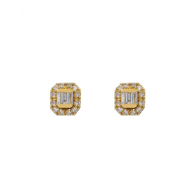 Item - Yellow Gold 14k Unisex with 0.20 Baguette Ct Diamond Earrings