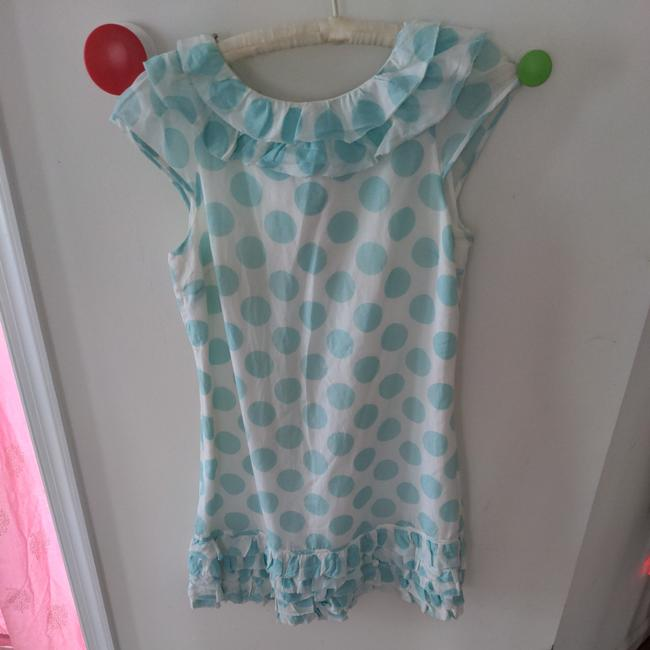 Item - White and Blue Silk Cotton Polka Dot Short Casual Dress Size 2 (XS)