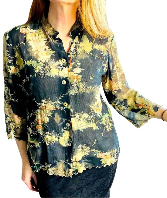 Item - Black Silk Small Floral Asian Print Blk Blouse Size 6 (S)