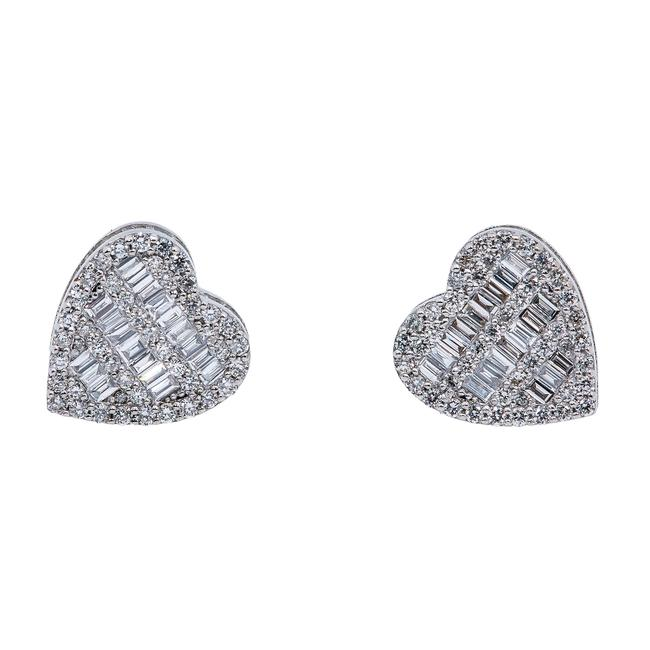 Item - White Gold 14k Ladies Heart Shape with 0.84 Baguette Ct Diamo Earrings