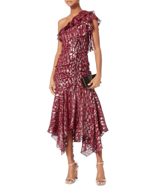 Item - Red/Silver Leighton Silk Blend One-shoulder Midi Mid-length Night Out Dress Size 2 (XS)