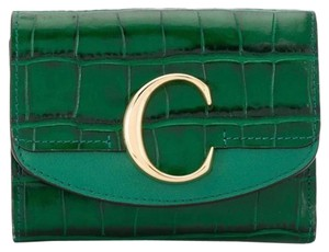 Item - Deep Green C Plaque Embossed Leather Trifold Wallet