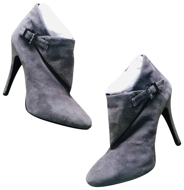 Item - Gray Suede Heeled Buckle Ankle 9b Boots/Booties Size US 9 Regular (M, B)