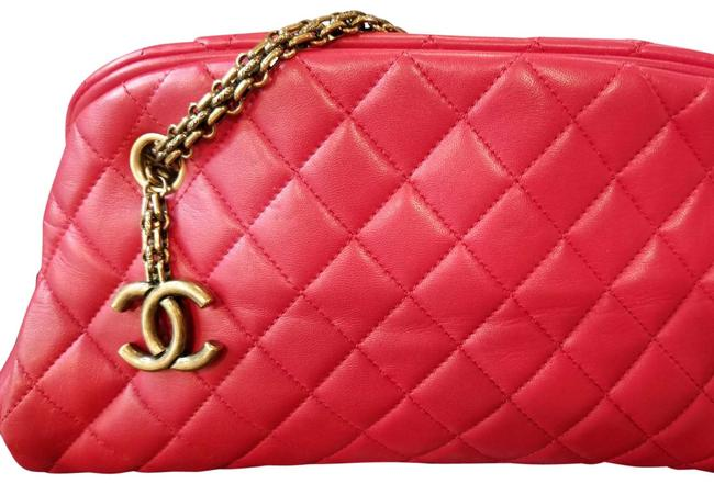 Item - Mademoiselle Bowling Bag Red Quilted Leather Lambskin Baguette