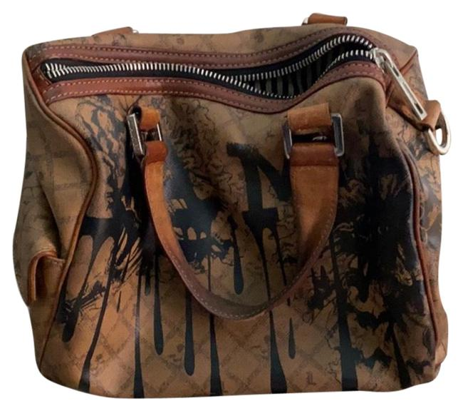 Item - L Brown and Black Leather Satchel