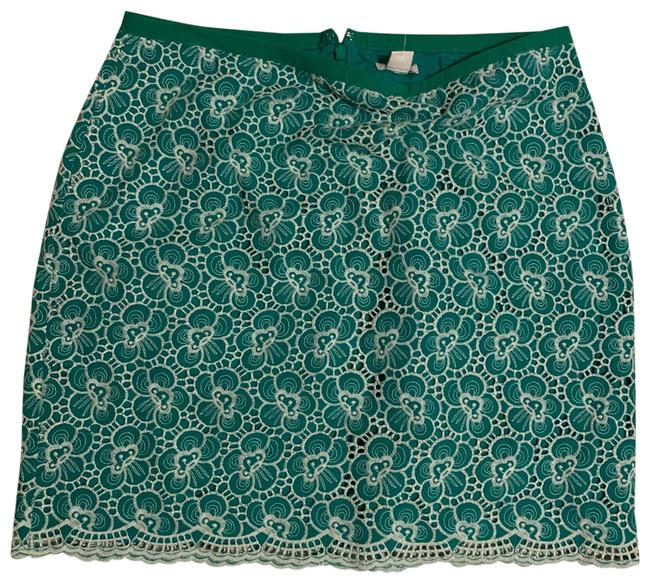 Item - Green Women White Eyelet Floral Skirt Size 6 (S, 28)