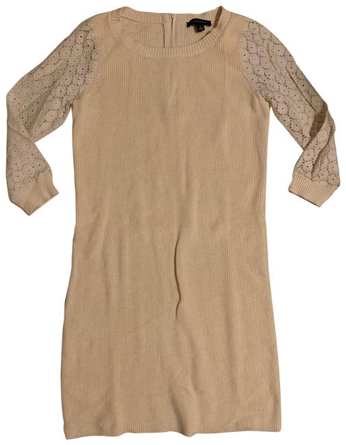 Item - Cream Eyelet Ivory Sweater Mid-length Work/Office Dress Size 4 (S)