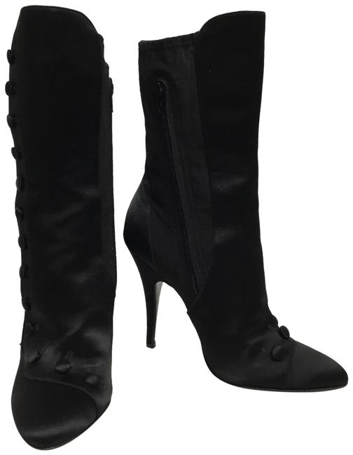 Item - Black Silk with Buttons Boots/Booties Size EU 38.5 (Approx. US 8.5) Regular (M, B)