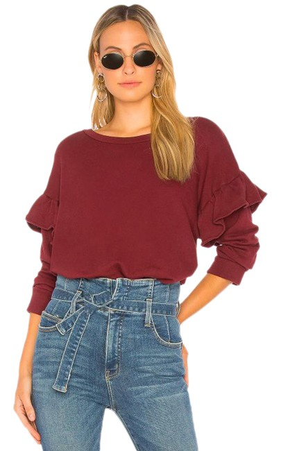 Item - | The Ruffle Sweatshirt Cabernet Red Sweater