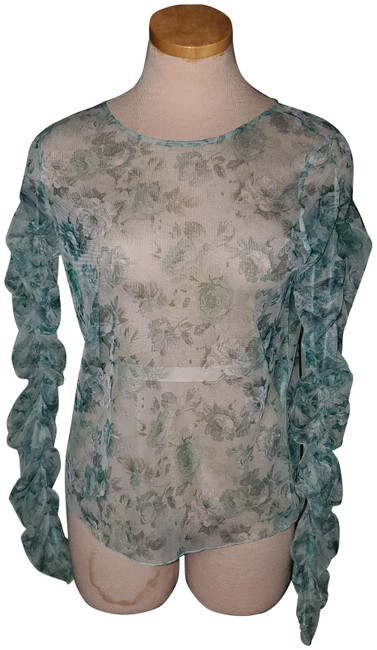 Item - Green Sheer Ruched Sleeves Blouse Size 6 (S)