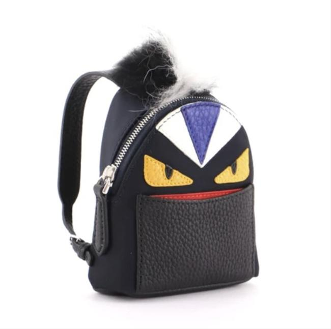 Item - Black Backpack Monster Bag Charm Nylon with Leather and Fur