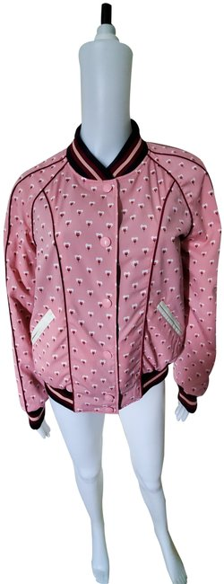 Item - Bordeaux/Petal Reversible Tossed Peony Print Souvenir Jacket Size 10 (M)
