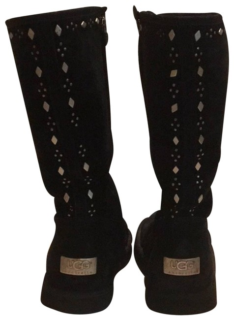 Item - Silver Joplin Studded Black Suede Fur Lined Retail Boots/Booties Size US 8 Regular (M, B)