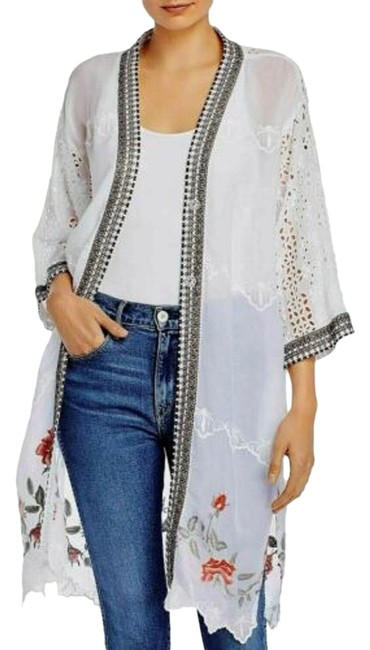 Item - White Kimono Rosey Snap Front Embroidered Jacket Size 14 (L)
