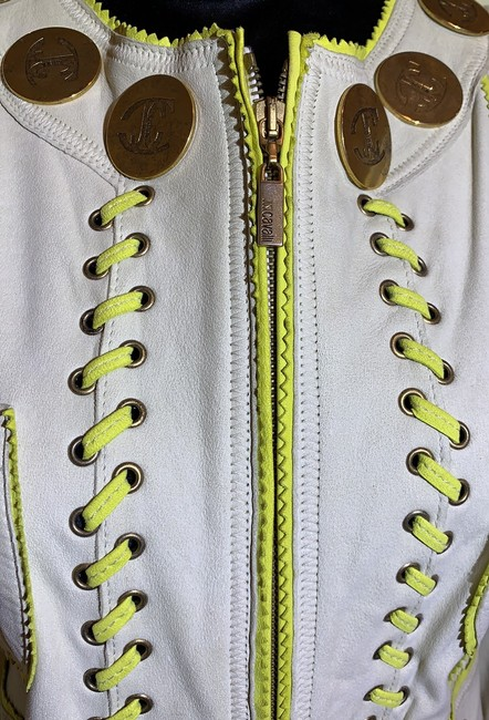 Just Cavalli Cream and Yellow Vintage Jacket Size 8 (M) Just Cavalli Cream and Yellow Vintage Jacket Size 8 (M) Image 2
