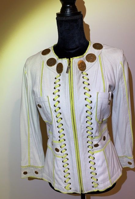 Just Cavalli Cream and Yellow Vintage Jacket Size 8 (M) Just Cavalli Cream and Yellow Vintage Jacket Size 8 (M) Image 12