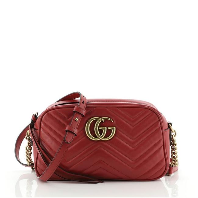 Item - GG Marmont Matelasse Small Red Leather Shoulder Bag