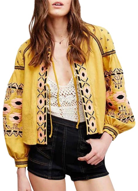 Item - Mustard Embroidered Balloon Sleeve Jacket Size 12 (L)