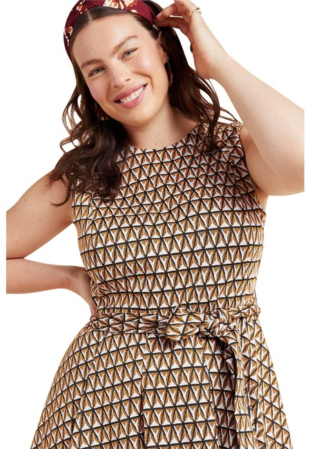 Item - Brown New Hutch Amina Belted Pleated Mini Short Casual Dress Size 20 (Plus 1x)