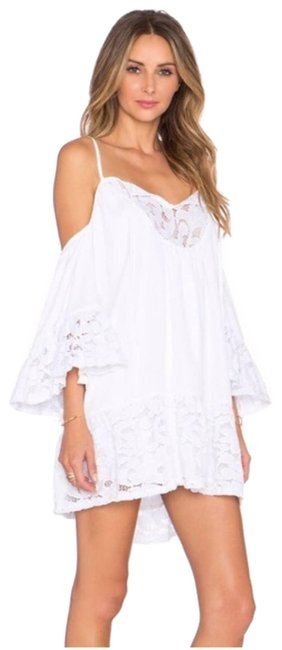 Item - White Cold Shoulder Ruffled Lace Mini Short Casual Dress Size 2 (XS)
