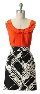 Anthropologie Tabitha Orange Black Buttons Dress