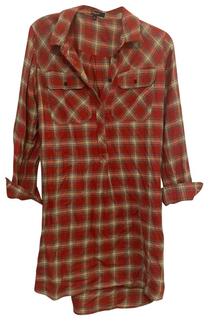 Item - Plaid Mid-length Short Casual Dress Size 4 (S)