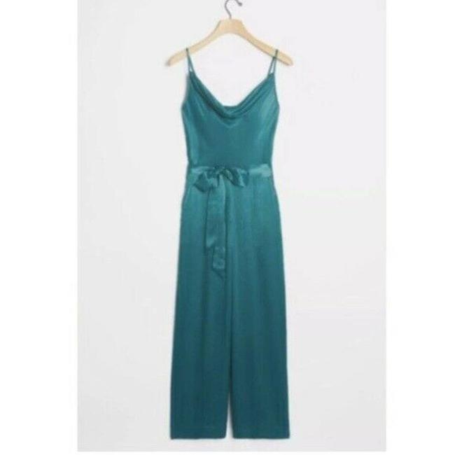Item - Blue New Alizia Cowl Neck Medium blue Green Romper/Jumpsuit