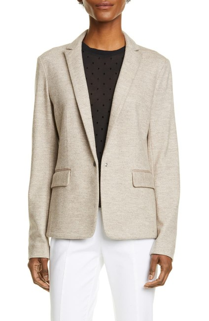 Item - Oatmeal Melange Lexington Peak Lapel Wool Blazer Size 10 (M)
